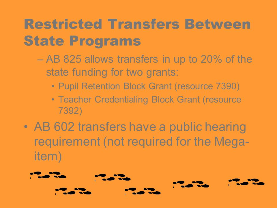 Restricted Transfers Between State Programs –AB 825 allows transfers in up to 20% of the state funding for two grants: Pupil Retention Block Grant (resource 7390) Teacher Credentialing Block Grant (resource 7392) AB 602 transfers have a public hearing requirement (not required for the Mega- item)