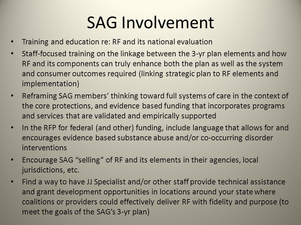 SAG Involvement Training and education re: RF and its national evaluation Staff-focused training on the linkage between the 3-yr plan elements and how