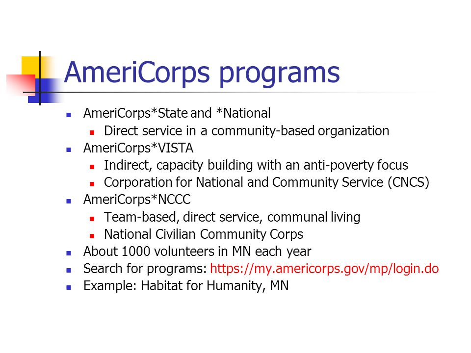 AmeriCorps programs AmeriCorps*State and *National Direct service in a community-based organization AmeriCorps*VISTA Indirect, capacity building with