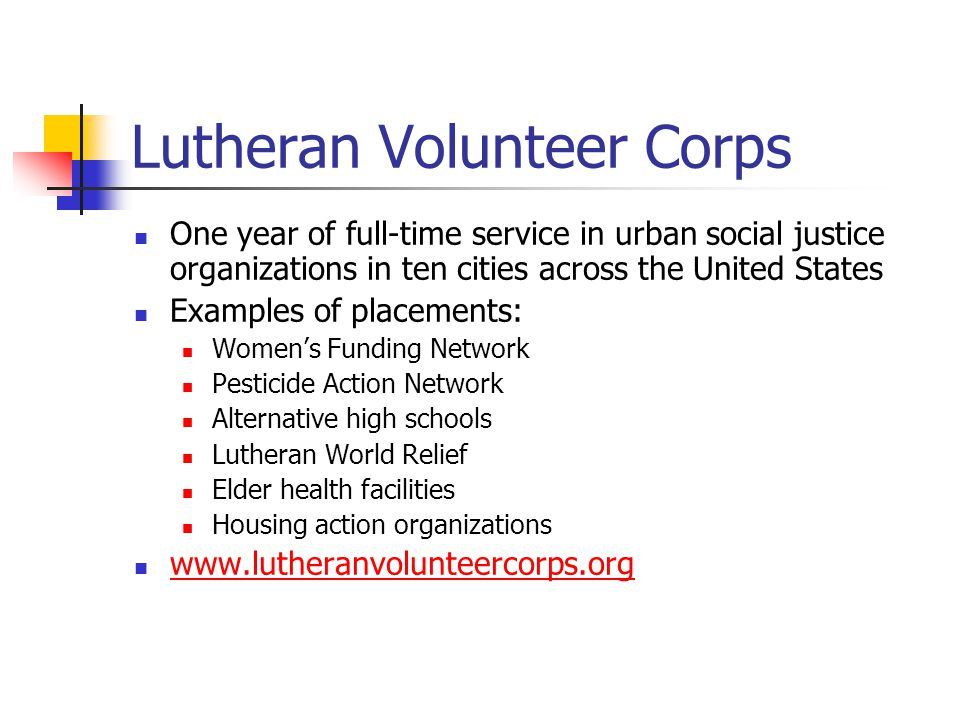 Lutheran Volunteer Corps One year of full-time service in urban social justice organizations in ten cities across the United States Examples of placem