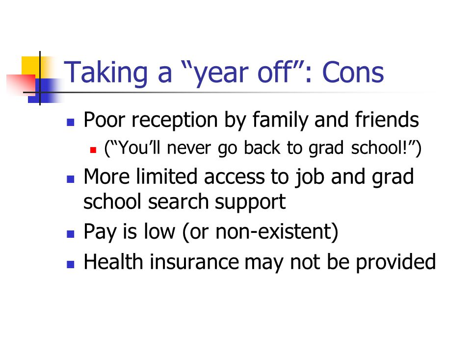 Taking a year off : Cons Poor reception by family and friends ( You'll never go back to grad school! ) More limited access to job and grad school search support Pay is low (or non-existent) Health insurance may not be provided