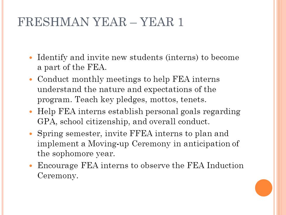 FRESHMAN YEAR – YEAR 1 Identify and invite new students (interns) to become a part of the FEA.