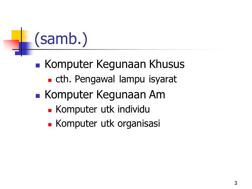 3 Komputer Kegunaan Khusus cth. Pengawal lampu isyarat Komputer Kegunaan Am Komputer utk individu Komputer utk organisasi (samb.)