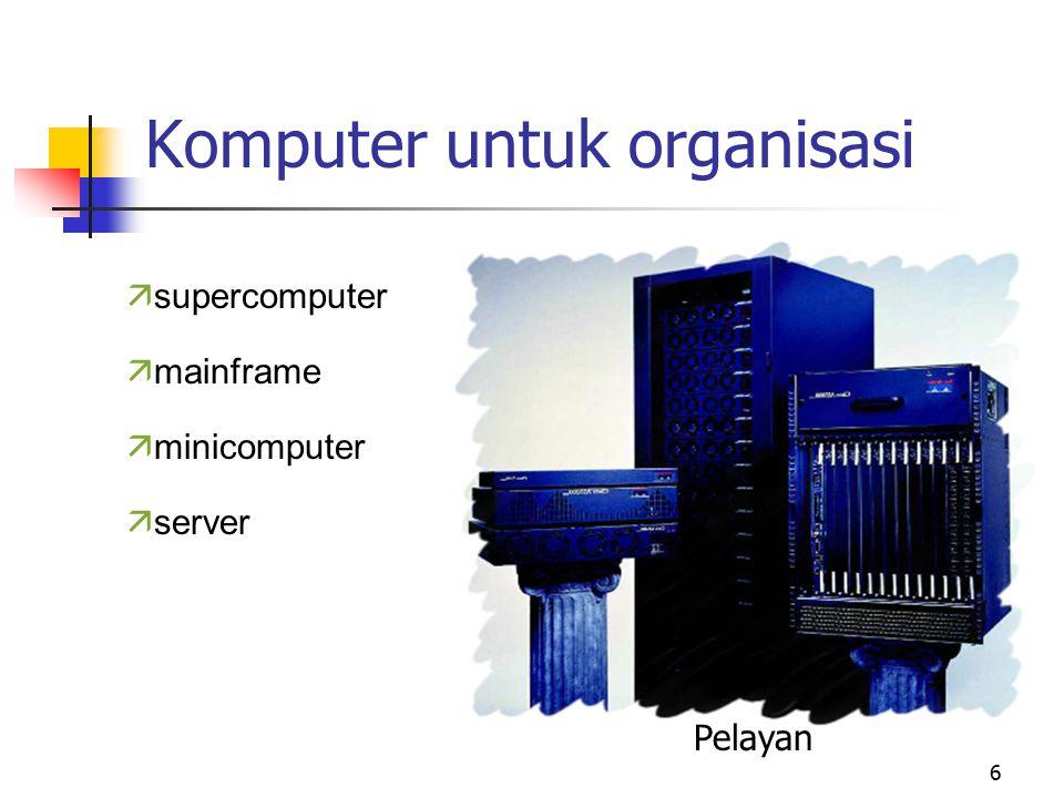 6 Komputer untuk organisasi ä supercomputer ä mainframe ä minicomputer ä server Pelayan