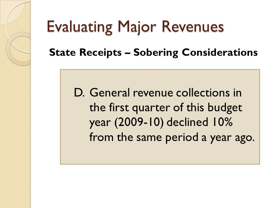 Evaluating Major Revenues State Receipts – Sobering Considerations D.General revenue collections in the first quarter of this budget year ( ) declined 10% from the same period a year ago.