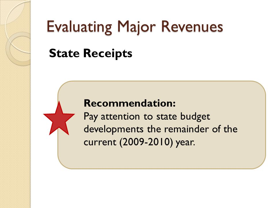 Evaluating Major Revenues State Receipts Recommendation: Pay attention to state budget developments the remainder of the current ( ) year.