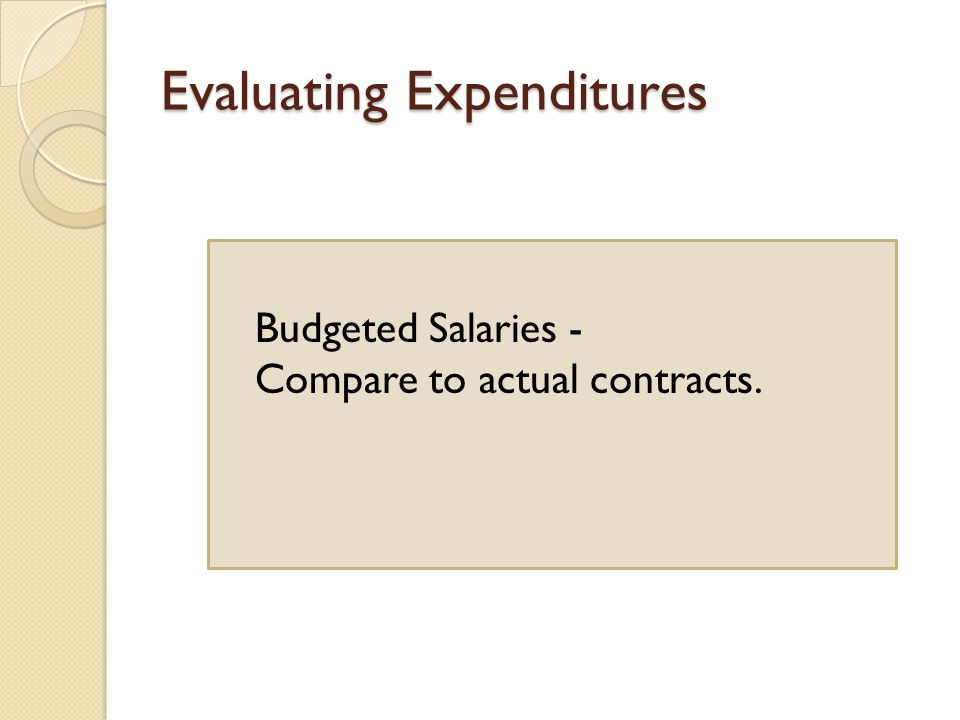 Evaluating Expenditures Budgeted Salaries - Compare to actual contracts.