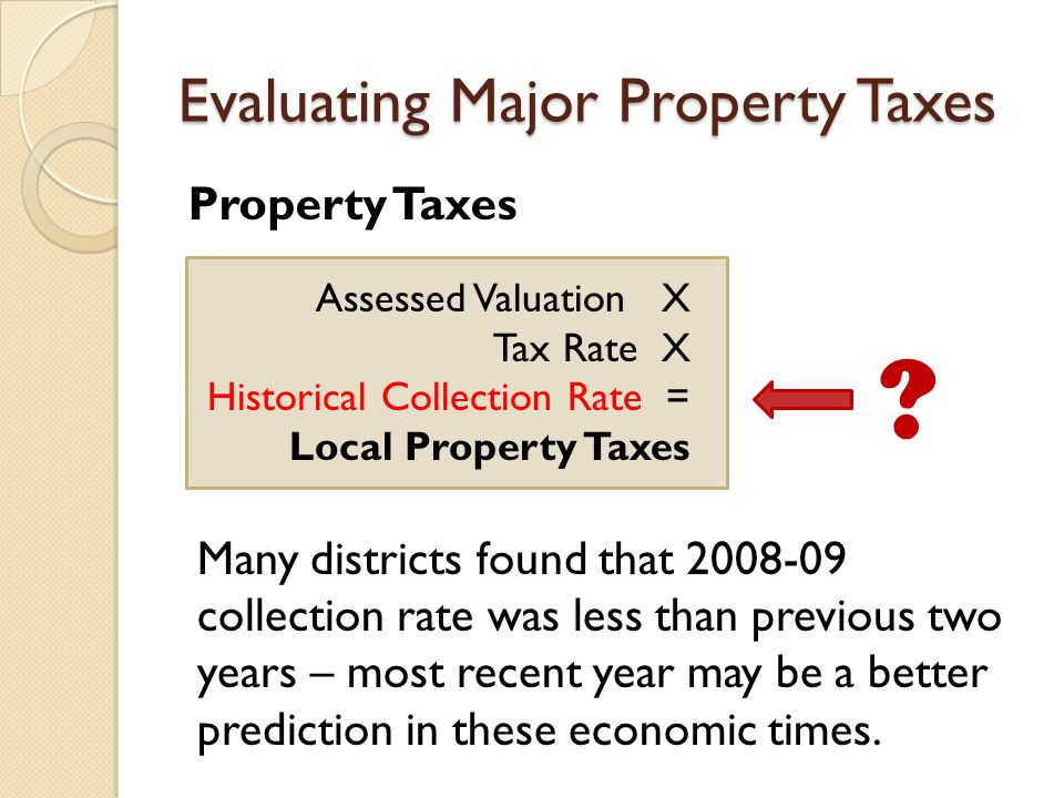 Evaluating Major Property Taxes Property Taxes Assessed Valuation X Tax Rate X Historical Collection Rate = Local Property Taxes .