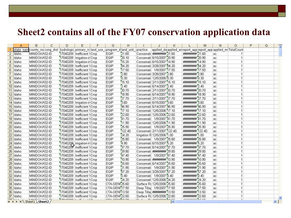 Sheet2 contains all of the FY07 conservation application data