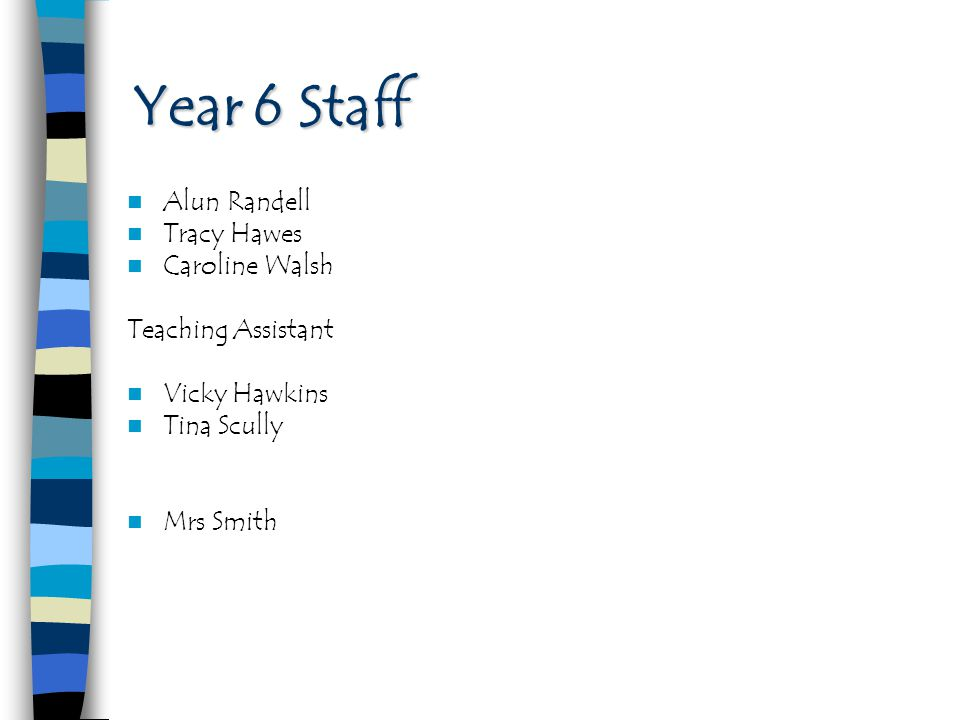 Year 6 Staff Alun Randell Tracy Hawes Caroline Walsh Teaching Assistant Vicky Hawkins Tina Scully Mrs Smith