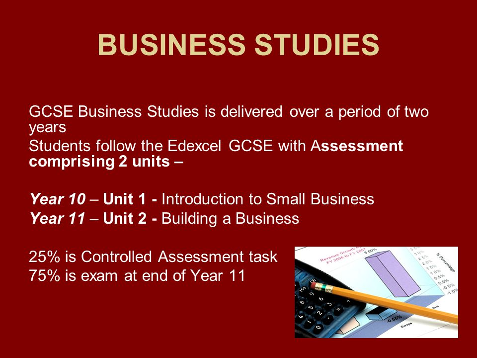 BUSINESS STUDIES GCSE Business Studies is delivered over a period of two years Students follow the Edexcel GCSE with Assessment comprising 2 units – Year 10 – Unit 1 - Introduction to Small Business Year 11 – Unit 2 - Building a Business 25% is Controlled Assessment task 75% is exam at end of Year 11