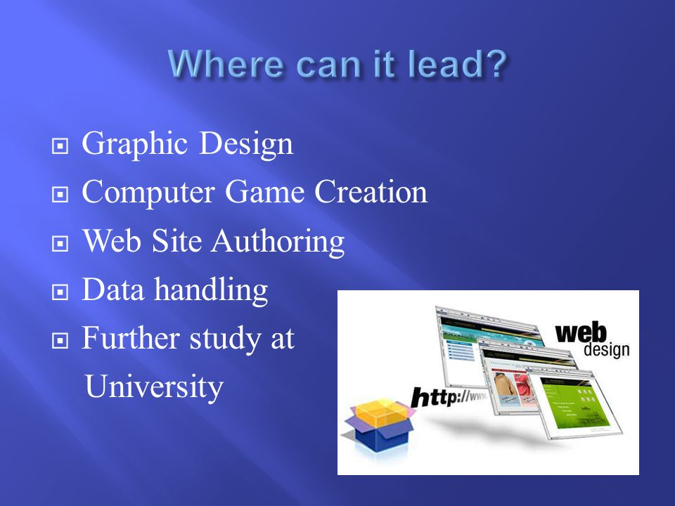  Graphic Design  Computer Game Creation  Web Site Authoring  Data handling  Further study at University