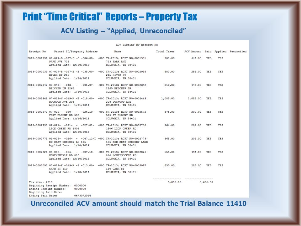 Print Time Critical Reports – Property Tax ACV Listing – Applied, Unreconciled Unreconciled ACV amount should match the Trial Balance 11410