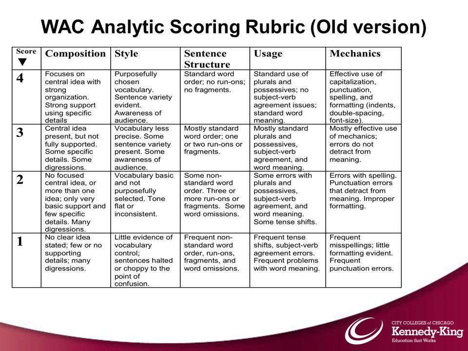 WAC Analytic Scoring Rubric (Old version)