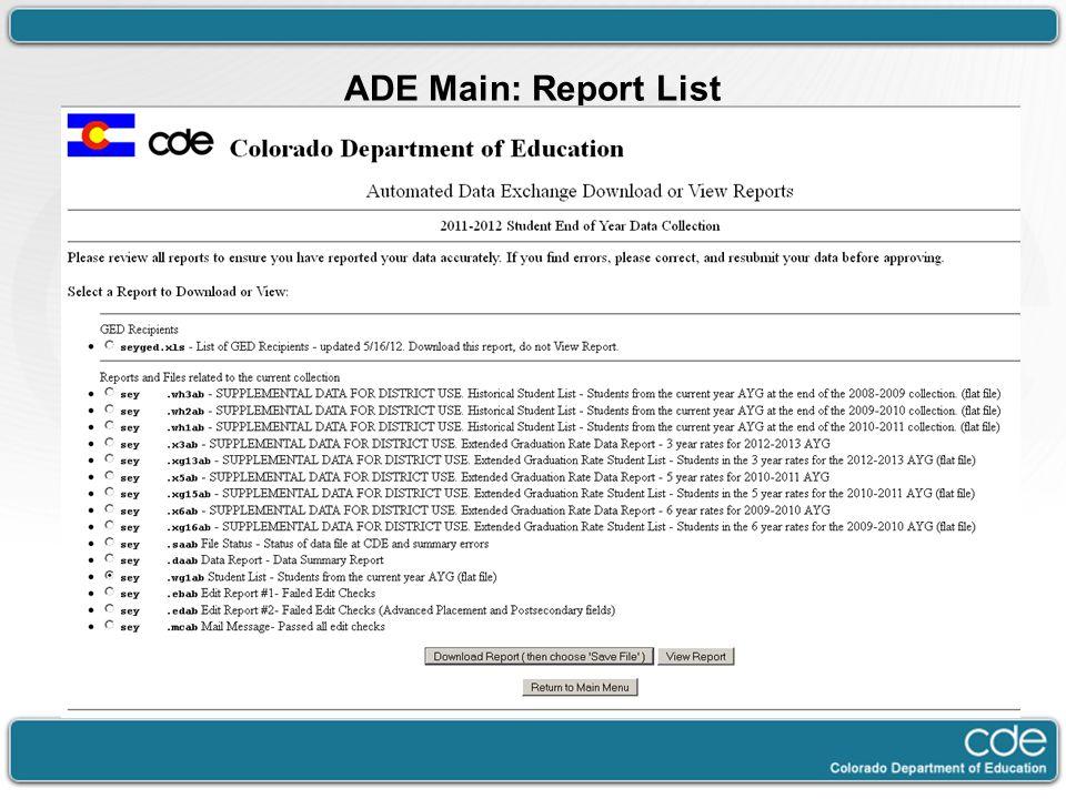 ADE Main: Report List