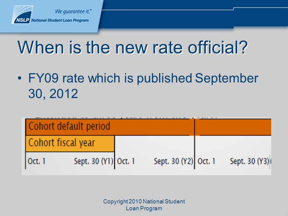 Copyright 2010 National Student Loan Program When is the new rate official? FY09 rate which is published September 30, 2012