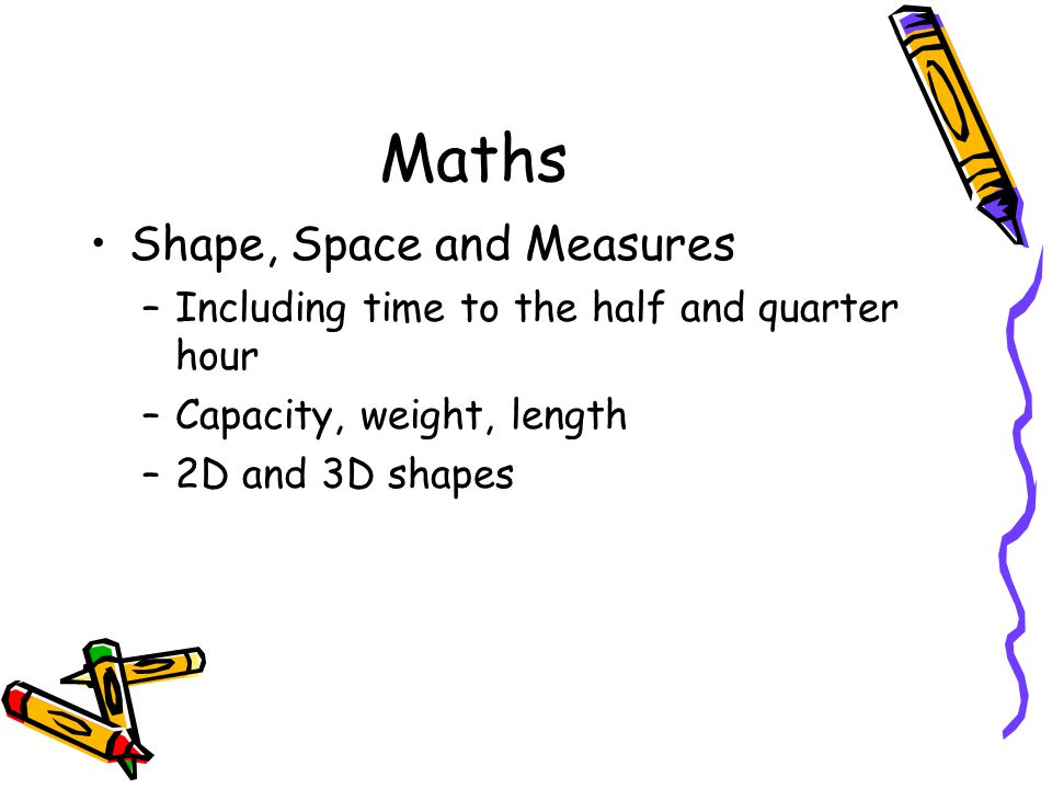 Maths Shape, Space and Measures –Including time to the half and quarter hour –Capacity, weight, length –2D and 3D shapes