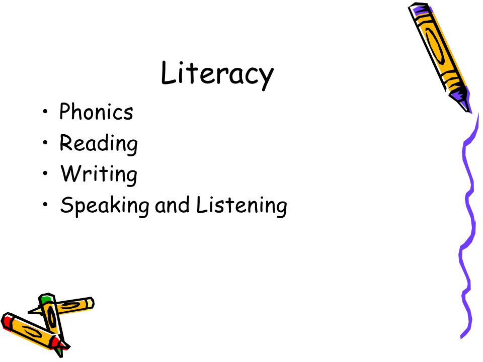 Literacy Phonics Reading Writing Speaking and Listening