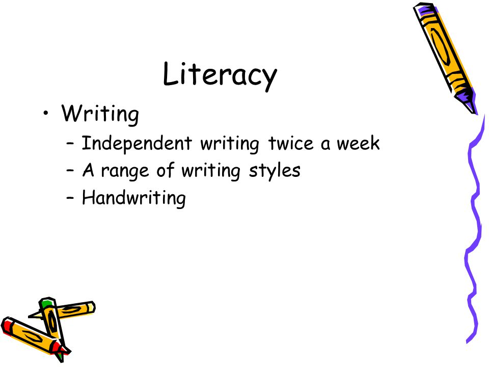 Literacy Writing –Independent writing twice a week –A range of writing styles –Handwriting