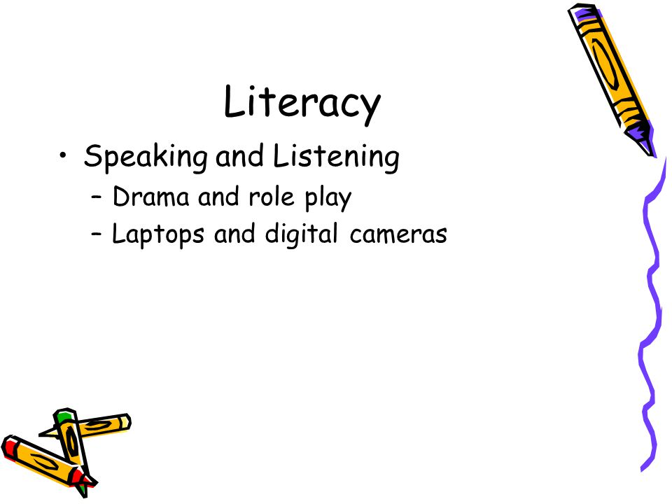 Literacy Speaking and Listening –Drama and role play –Laptops and digital cameras
