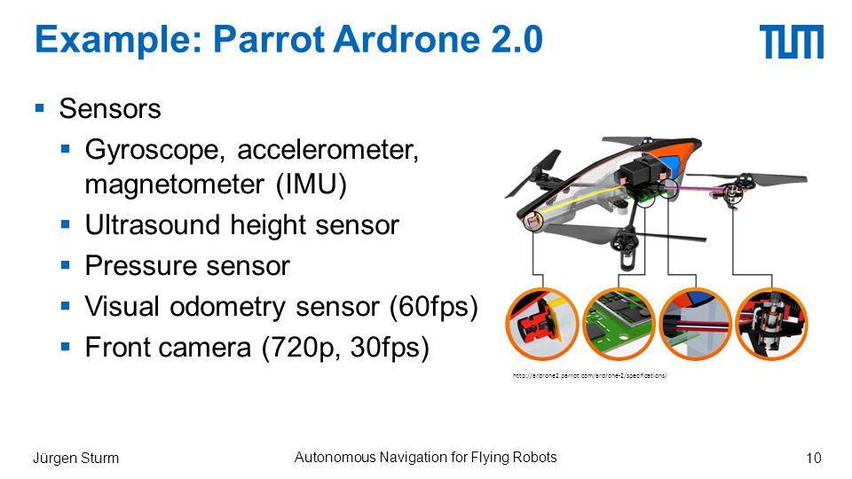 Example: Parrot Ardrone 2.0  Sensors  Gyroscope, accelerometer, magnetometer (IMU)  Ultrasound height sensor  Pressure sensor  Visual odometry sensor (60fps)  Front camera (720p, 30fps) Jürgen Sturm Autonomous Navigation for Flying Robots 10 http://ardrone2.parrot.com/ardrone-2/specifications/