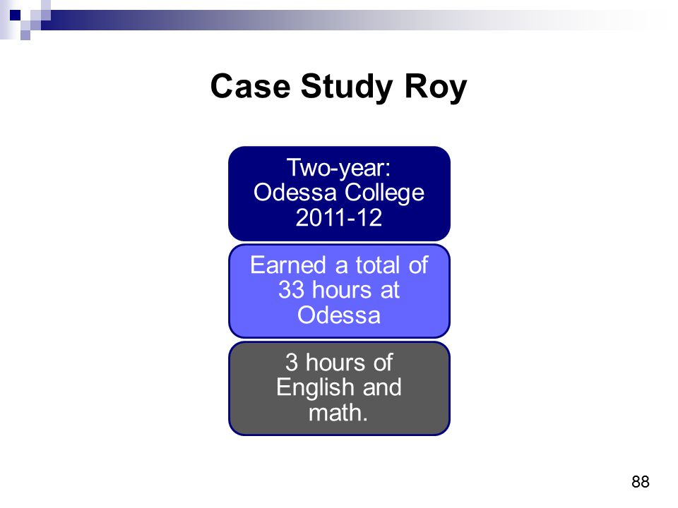 88 Case Study Roy Two-year: Odessa College Earned a total of 33 hours at Odessa 3 hours of English and math.