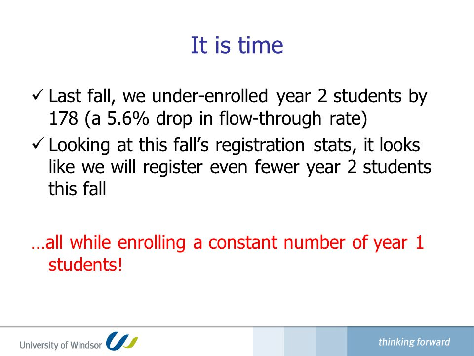 It is time Last fall, we under-enrolled year 2 students by 178 (a 5.6% drop in flow-through rate) Looking at this fall's registration stats, it looks like we will register even fewer year 2 students this fall …all while enrolling a constant number of year 1 students!