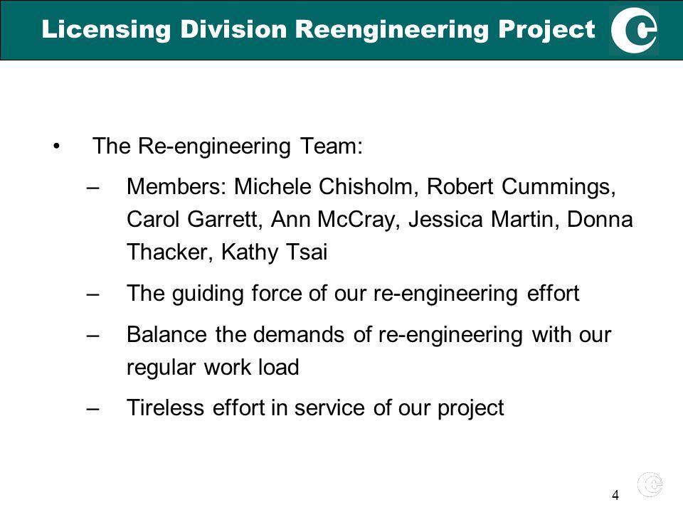 4 Licensing Division Reengineering Project The Re-engineering Team: –Members: Michele Chisholm, Robert Cummings, Carol Garrett, Ann McCray, Jessica Ma