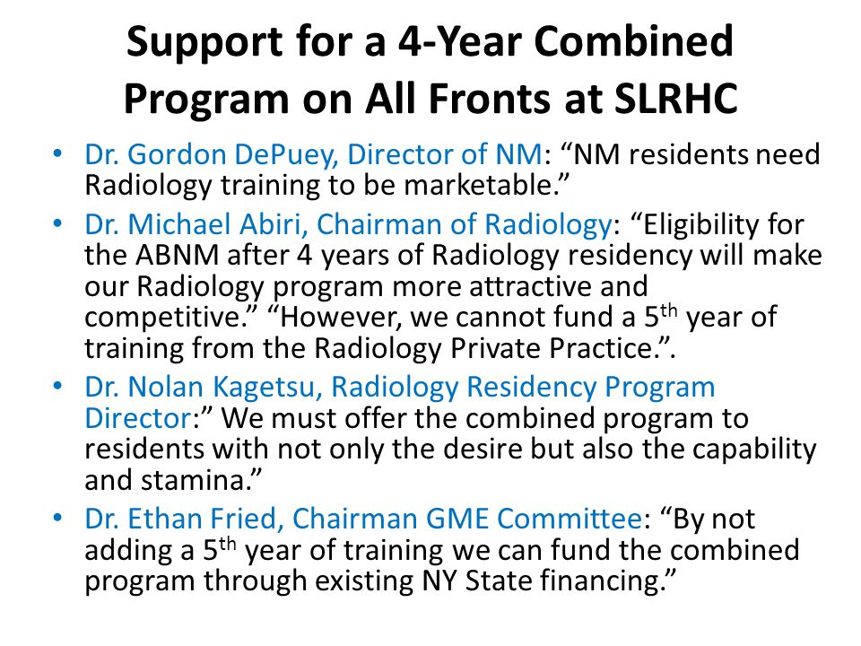 Support for a 4-Year Combined Program on All Fronts at SLRHC Dr.