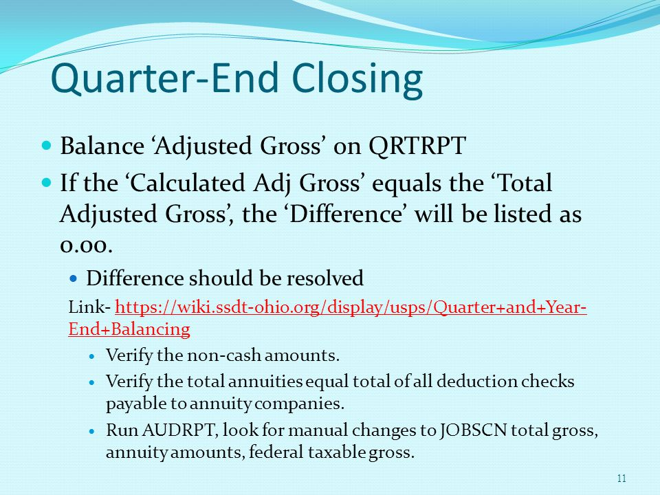 Quarter-End Closing Balance 'Adjusted Gross' on QRTRPT If the 'Calculated Adj Gross' equals the 'Total Adjusted Gross', the 'Difference' will be liste