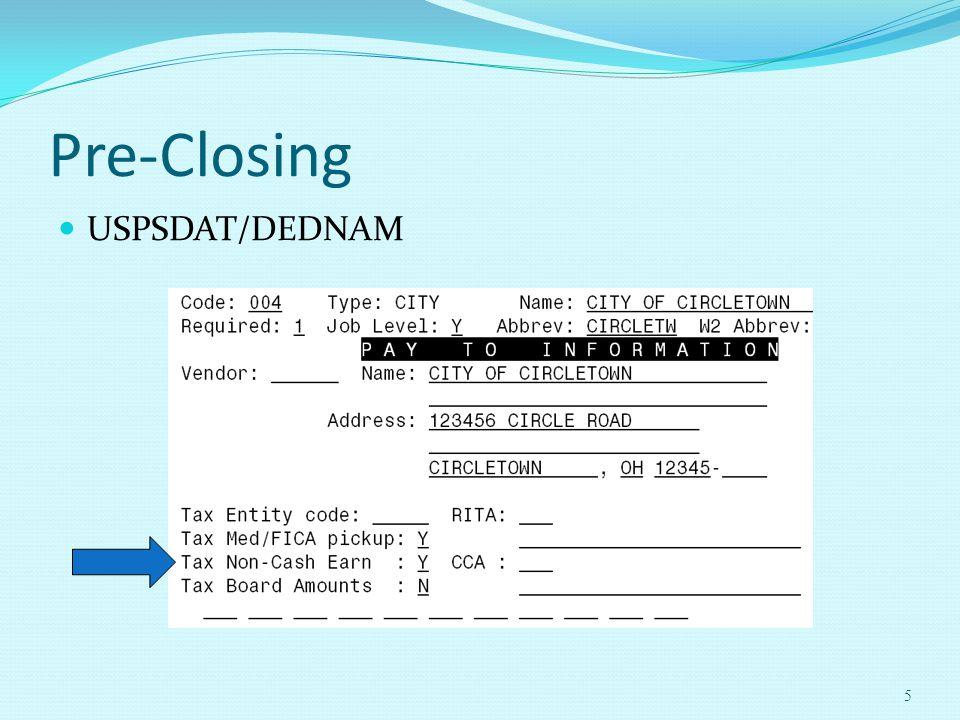 Pre-Closing USPSDAT/DEDNAM 5