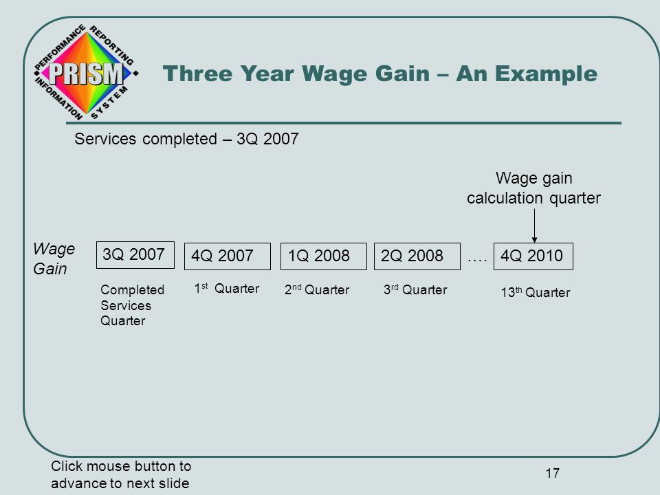 18 Three Year Wage Gain – Review Click mouse button to advance to next slide Services completed date 2 Average hourly 13 th quarter wage is always calculated five quarters after the services completed quarter.