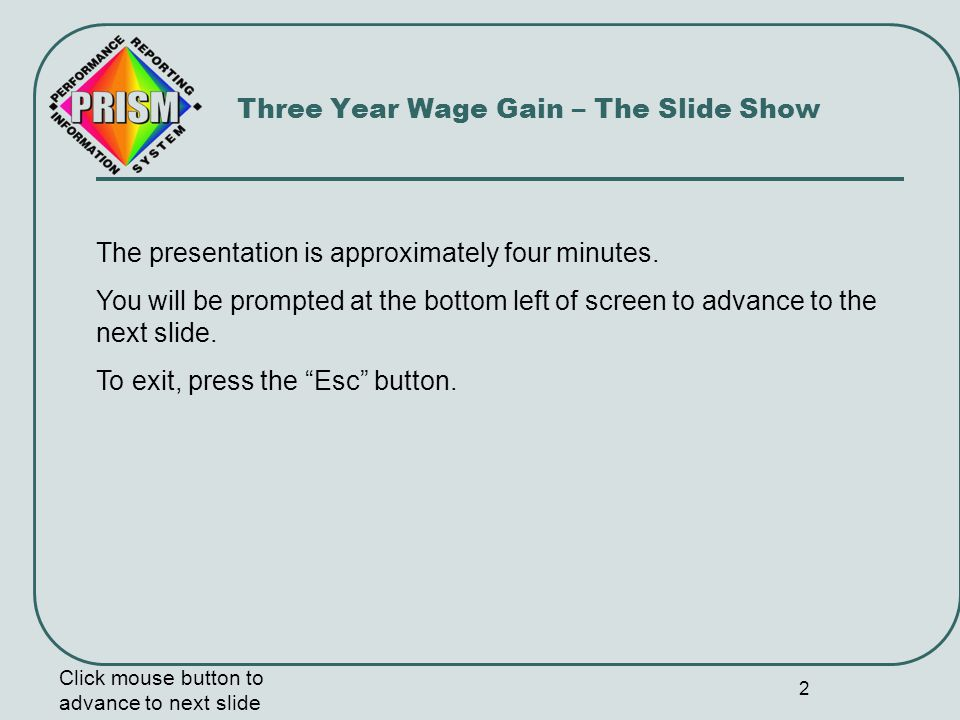 2 The presentation is approximately four minutes.