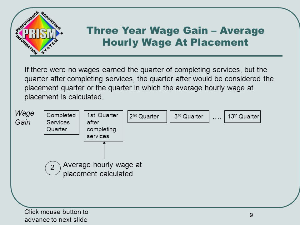 9 Wage Gain 1st Quarter after completing services Three Year Wage Gain – Average Hourly Wage At Placement 13 th Quarter If there were no wages earned the quarter of completing services, but the quarter after completing services, the quarter after would be considered the placement quarter or the quarter in which the average hourly wage at placement is calculated.