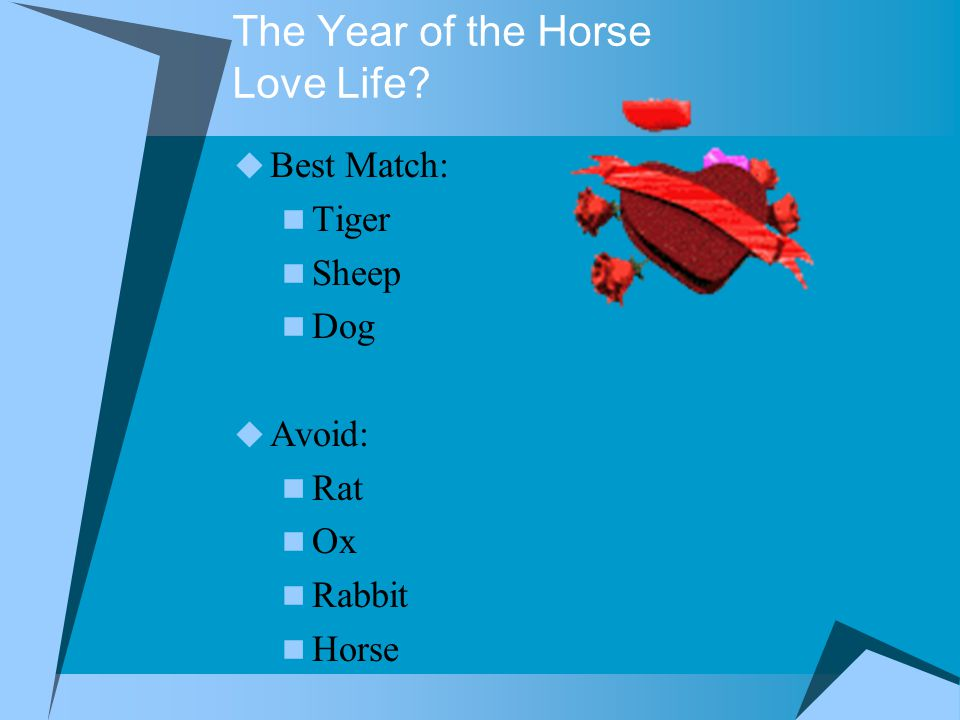 The Year of the Horse Love Life  Best Match: Tiger Sheep Dog  Avoid: Rat Ox Rabbit Horse