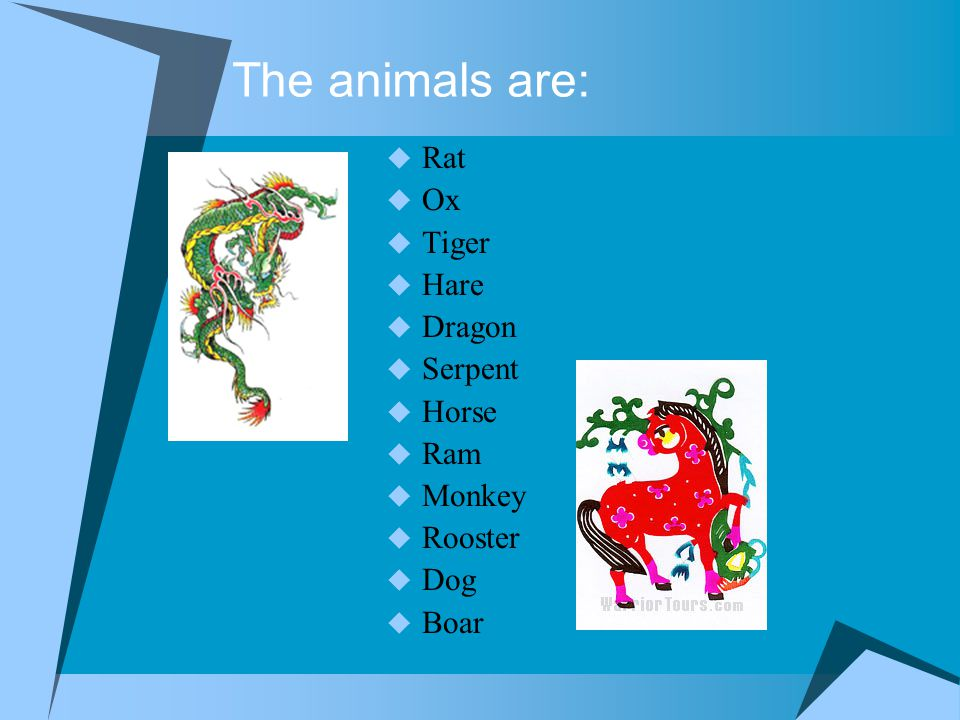 The animals are:  Rat  Ox  Tiger  Hare  Dragon  Serpent  Horse  Ram  Monkey  Rooster  Dog  Boar