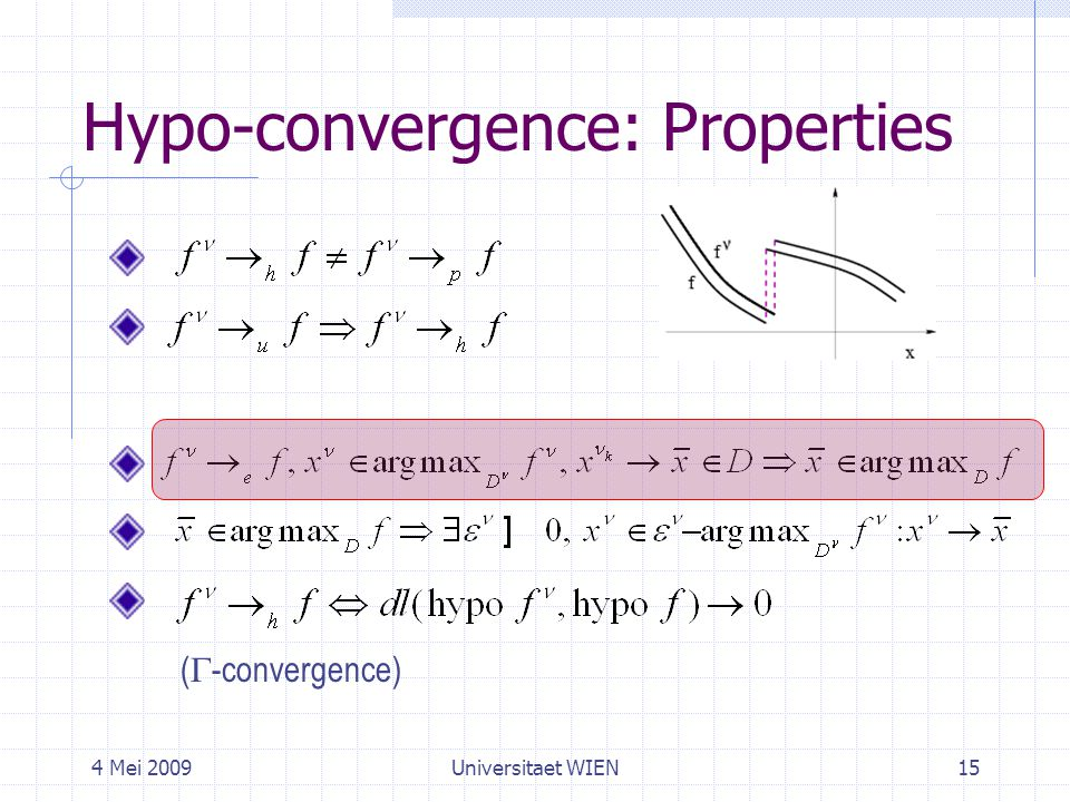 4 Mei 2009Universitaet WIEN15 Hypo-convergence: Properties (  -convergence)