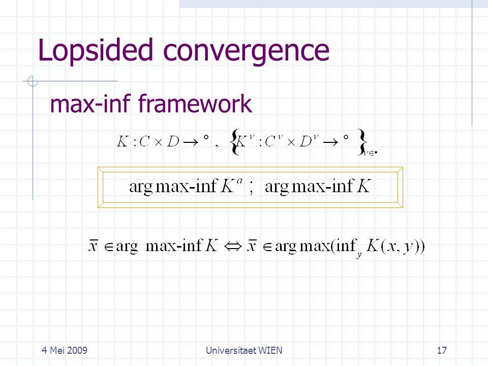 4 Mei 2009Universitaet WIEN17 Lopsided convergence max-inf framework