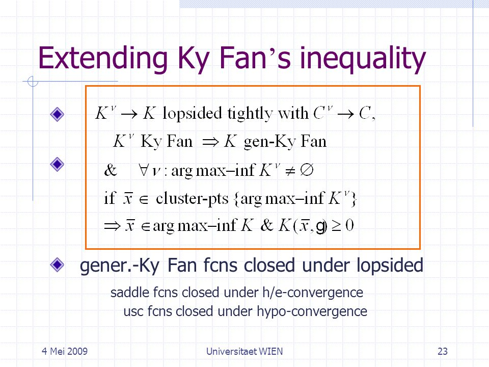 4 Mei 2009Universitaet WIEN23 Extending Ky Fan ' s inequality gener.-Ky Fan fcns closed under lopsided saddle fcns closed under h/e-convergence usc fcns closed under hypo-convergence