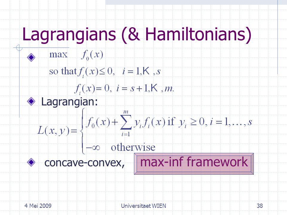4 Mei 2009Universitaet WIEN38 Lagrangians (& Hamiltonians) Lagrangian: concave-convex, max-inf framework