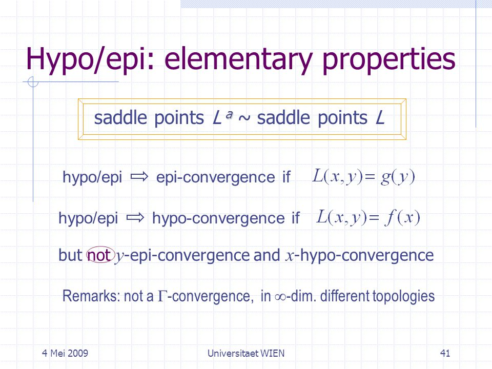 4 Mei 2009Universitaet WIEN41 Hypo/epi: elementary properties a saddle points L a ~ saddle points L hypo/epi epi-convergence if hypo/epi hypo-convergence if Remarks: not a  -convergence, in  -dim.