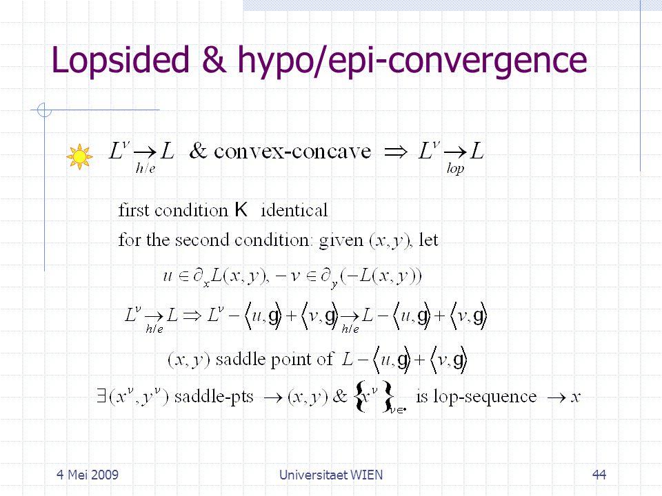 4 Mei 2009Universitaet WIEN44 Lopsided & hypo/epi-convergence