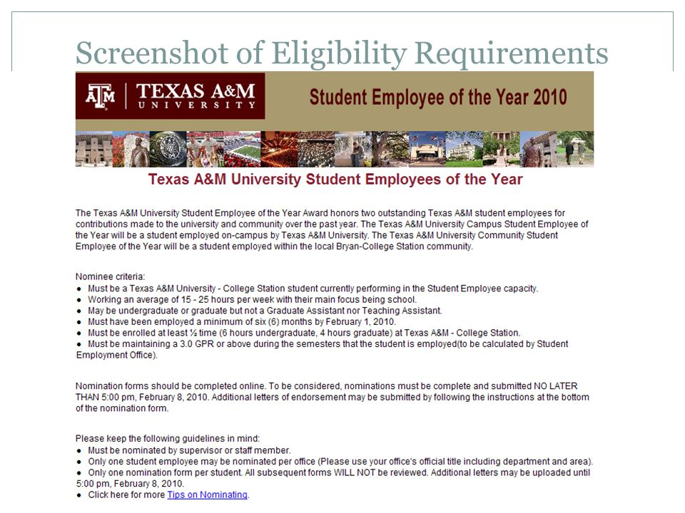 Screenshot of Eligibility Requirements