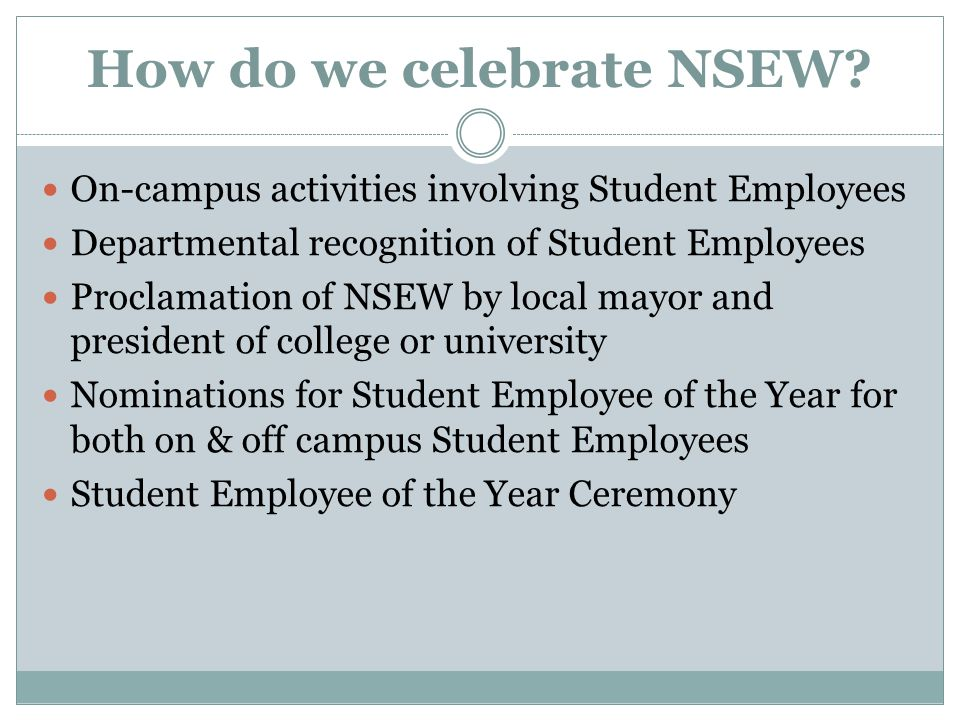 How do we celebrate NSEW.