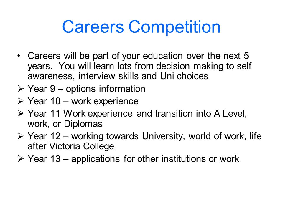 Careers will be part of your education over the next 5 years. You will learn lots from decision making to self awareness, interview skills and Uni cho