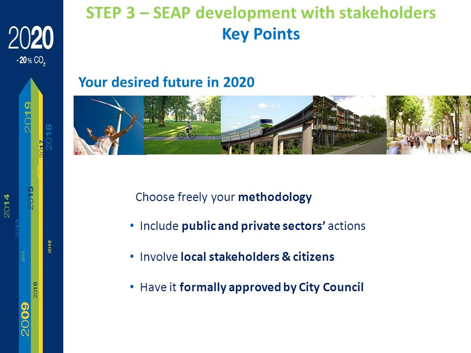 Choose freely your methodology Include public and private sectors' actions Involve local stakeholders & citizens Have it formally approved by City Council STEP 3 – SEAP development with stakeholders Key Points Your desired future in 2020