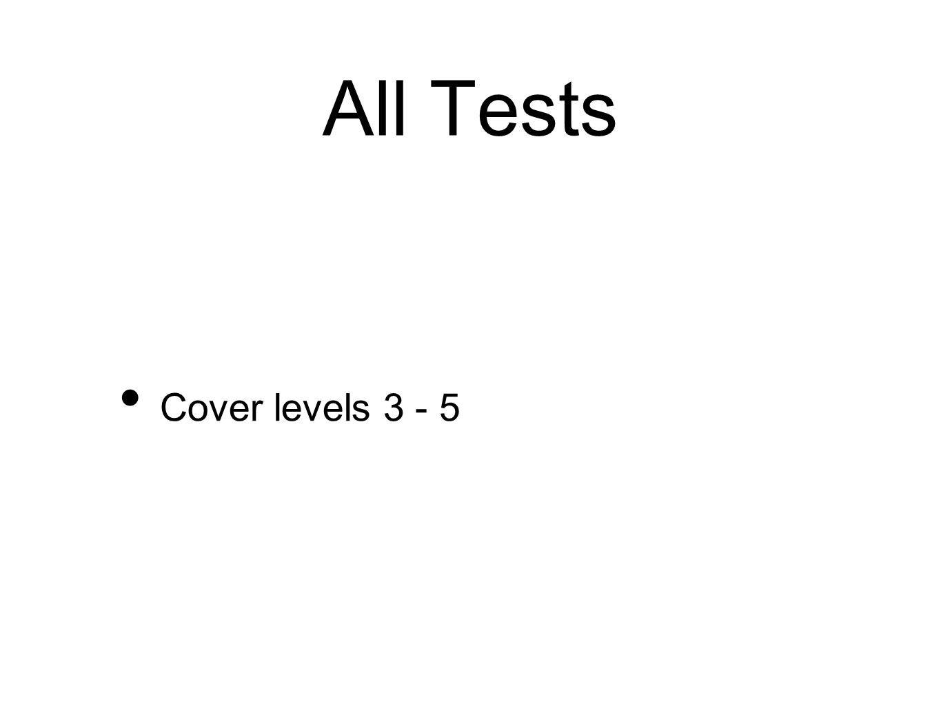 All Tests Cover levels 3 - 5