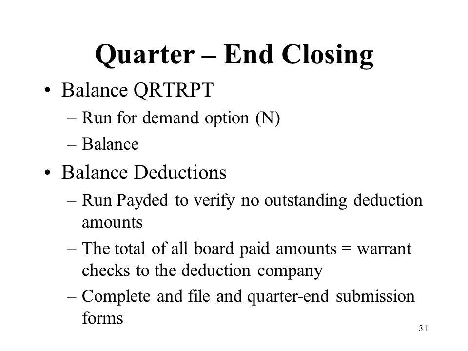 31 Quarter – End Closing Balance QRTRPT –Run for demand option (N) –Balance Balance Deductions –Run Payded to verify no outstanding deduction amounts