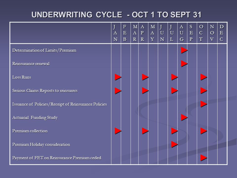 UNDERWRITING CYCLE - OCT 1 TO SEPT 31 JANJANJANJAN FEBFEBFEBFEB MARMARMARMAR APRAPRAPRAPR MAYMAYMAYMAY JUNJUNJUNJUN JULJULJULJUL AUGAUGAUGAUG SEPSEPSEPSEP OCTOCTOCTOCT NOVNOVNOVNOV DECDECDECDEC Determination of Limits/Premium ► Reinsurance renewal ► Loss Runs ►►►► Serious Claims Reports to reinsurers ►►►► Issuance of Policies/Receipt of Reinsurance Policies ► Actuarial Funding Study ► Premium collection ►►►► Premium Holiday consideration ► Payment of FET on Reinsurance Premium ceded ►