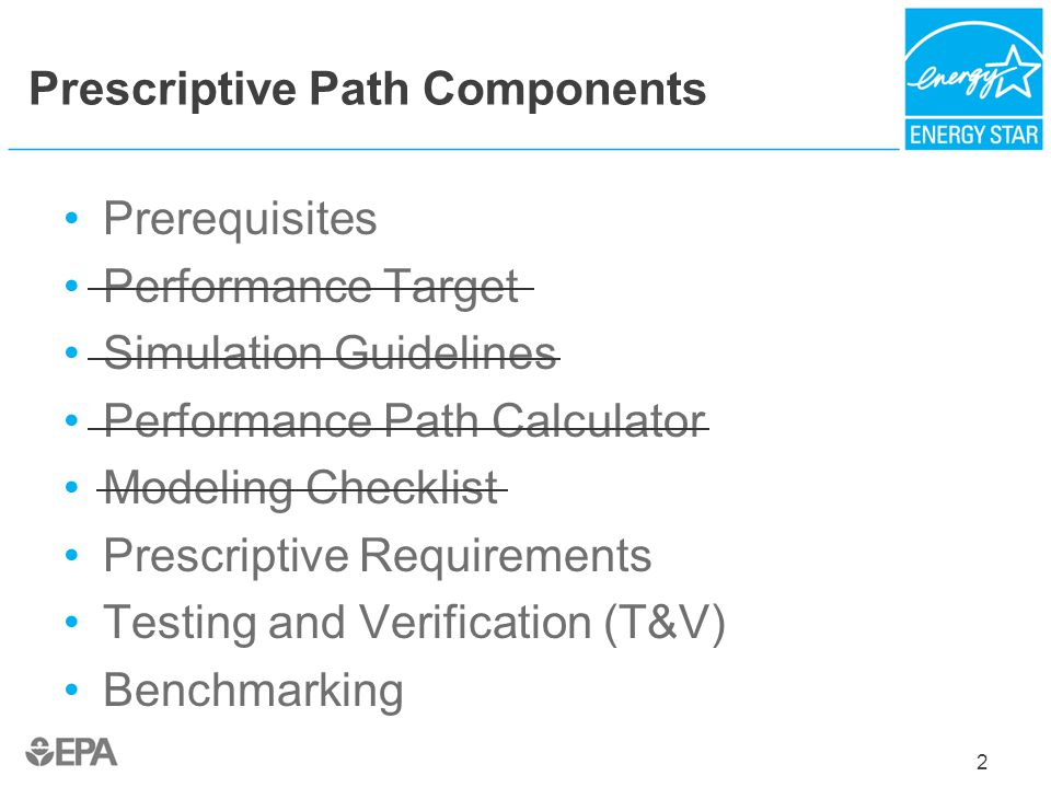 2 Prescriptive Path Components Prerequisites Performance Target Simulation Guidelines Performance Path Calculator Modeling Checklist Prescriptive Requ